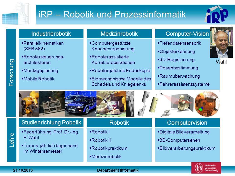 Department Informatik 21.10.2013 iRP – Robotik und Prozessinformatik Parallelkinematiken (SFB 562) Robotersteuerungs- architekturen Montageplanung Mob