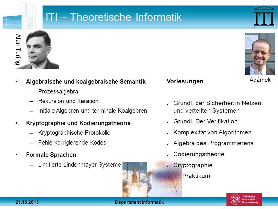 Department Informatik 21.10.2013 ITI – Theoretische Informatik Algebraische und koalgebraische Semantik –Prozessalgebra –Rekursion und Iteration –Init