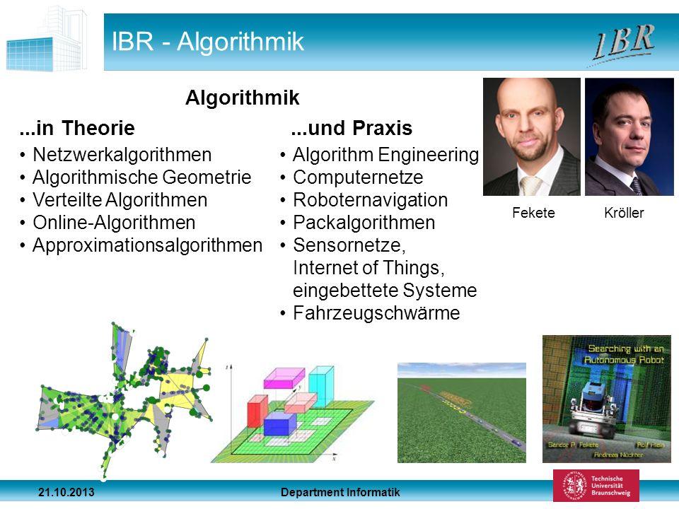 Department Informatik 21.10.2013 IBR - Algorithmik...in Theorie...und Praxis Netzwerkalgorithmen Algorithmische Geometrie Verteilte Algorithmen Online
