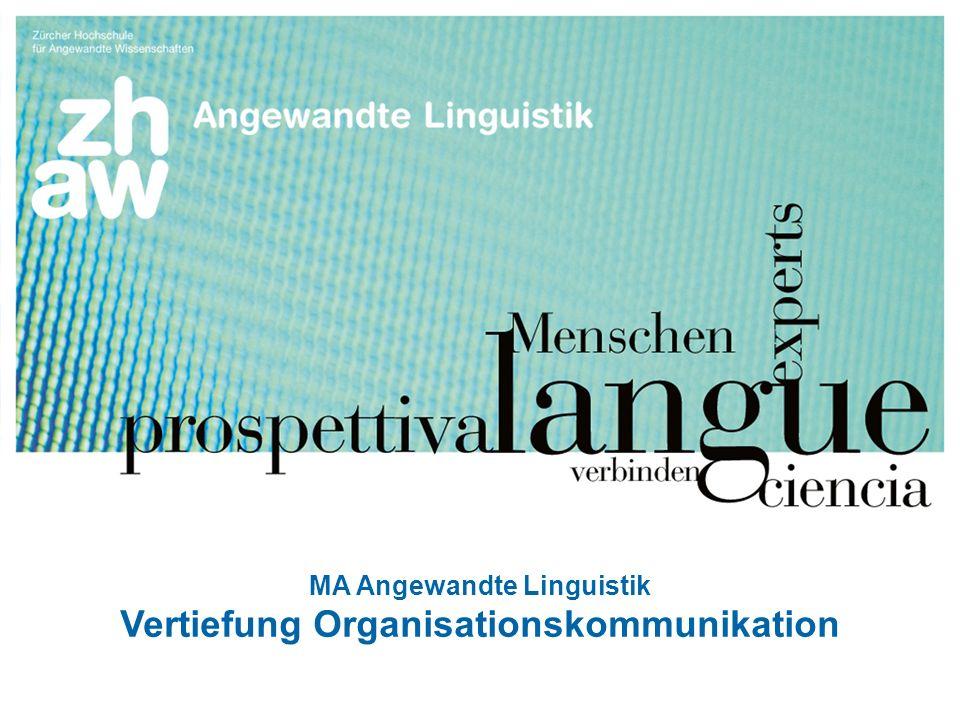Zürcher Fachhochschule 111 Titelfolie MA Angewandte Linguistik Vertiefung Organisationskommunikation