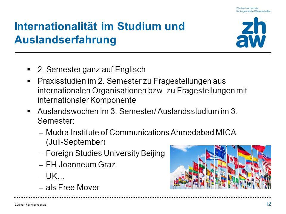 Zürcher Fachhochschule 12 Internationalität im Studium und Auslandserfahrung 2.