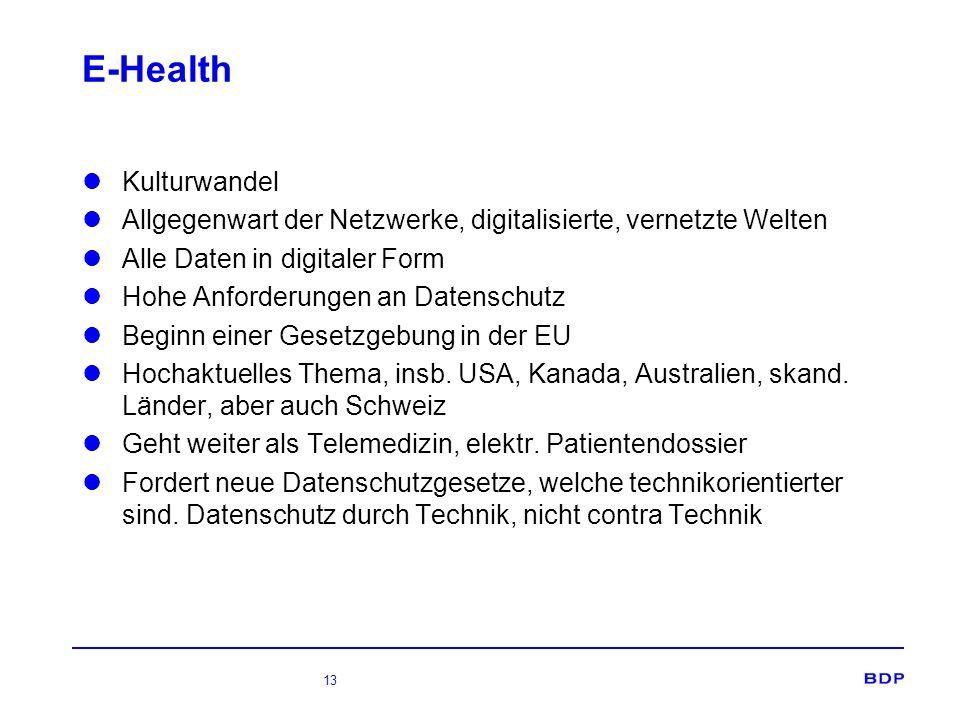 13 E-Health Kulturwandel Allgegenwart der Netzwerke, digitalisierte, vernetzte Welten Alle Daten in digitaler Form Hohe Anforderungen an Datenschutz Beginn einer Gesetzgebung in der EU Hochaktuelles Thema, insb.