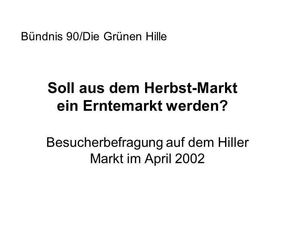 Soll aus dem Herbst-Markt ein Erntemarkt werden? Besucherbefragung auf dem Hiller Markt im April 2002 Bündnis 90/Die Grünen Hille