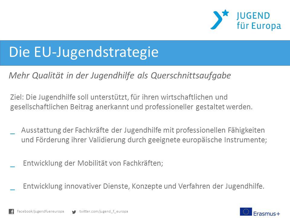 twitter.com/jugend_f_europaFacebook/jugendfuereuropa Die EU-Jugendstrategie Mehr Qualität in der Jugendhilfe als Querschnittsaufgabe Ziel: Die Jugendhilfe soll unterstützt, für ihren wirtschaftlichen und gesellschaftlichen Beitrag anerkannt und professioneller gestaltet werden.