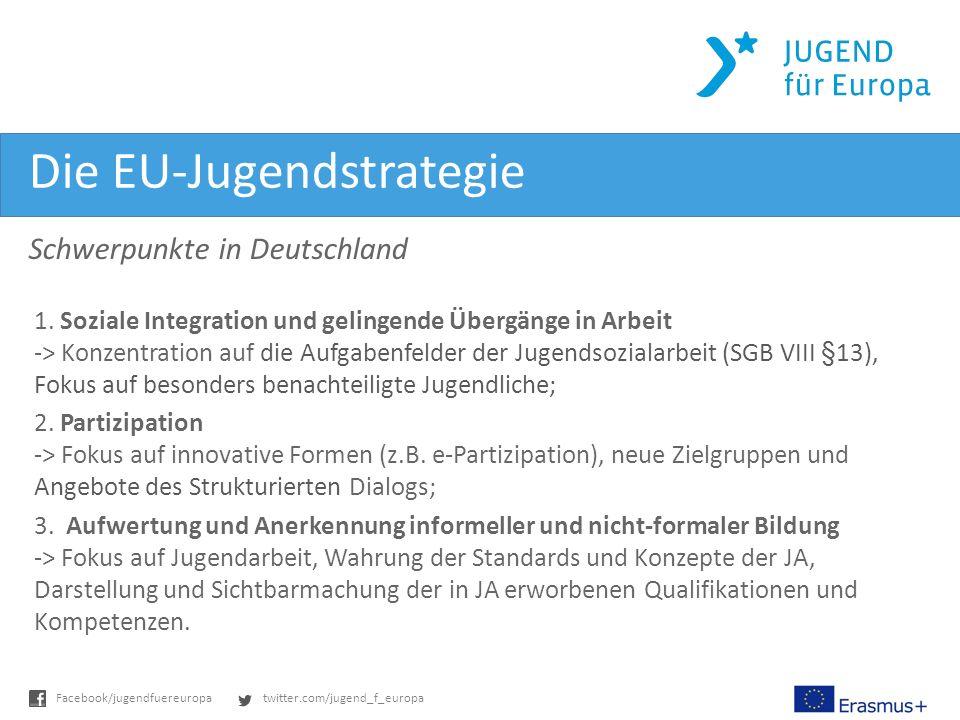 twitter.com/jugend_f_europaFacebook/jugendfuereuropa Die EU-Jugendstrategie Schwerpunkte in Deutschland 1.