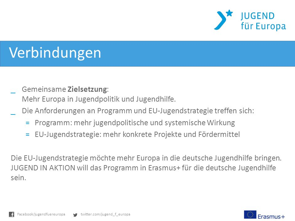 twitter.com/jugend_f_europaFacebook/jugendfuereuropa Verbindungen _Gemeinsame Zielsetzung: Mehr Europa in Jugendpolitik und Jugendhilfe.
