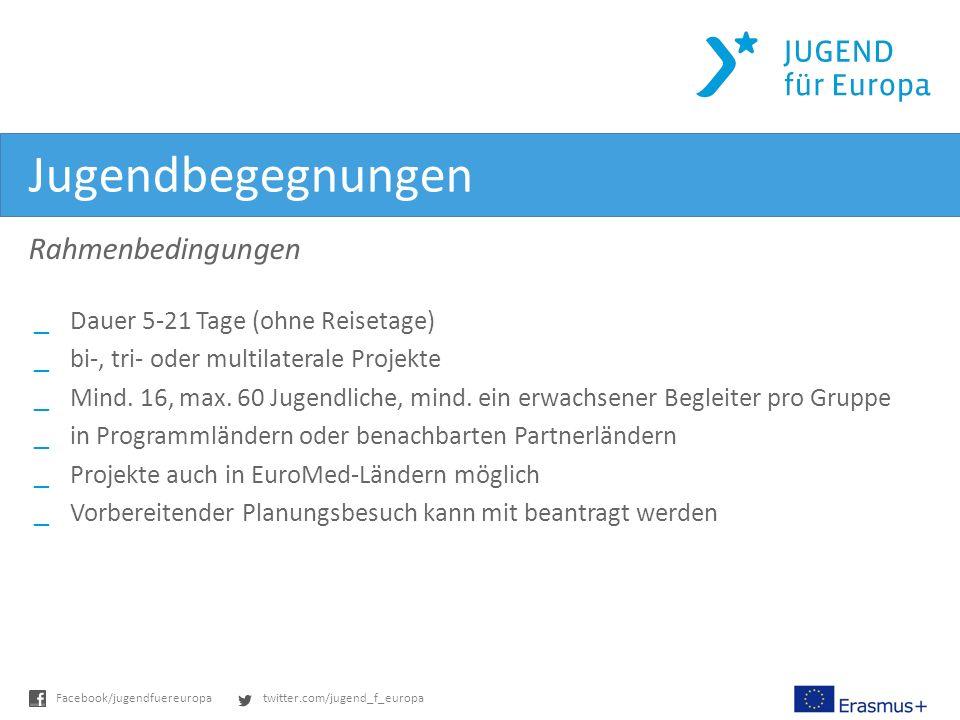 twitter.com/jugend_f_europaFacebook/jugendfuereuropa Jugendbegegnungen Rahmenbedingungen _Dauer 5-21 Tage (ohne Reisetage) _bi-, tri- oder multilaterale Projekte _Mind.