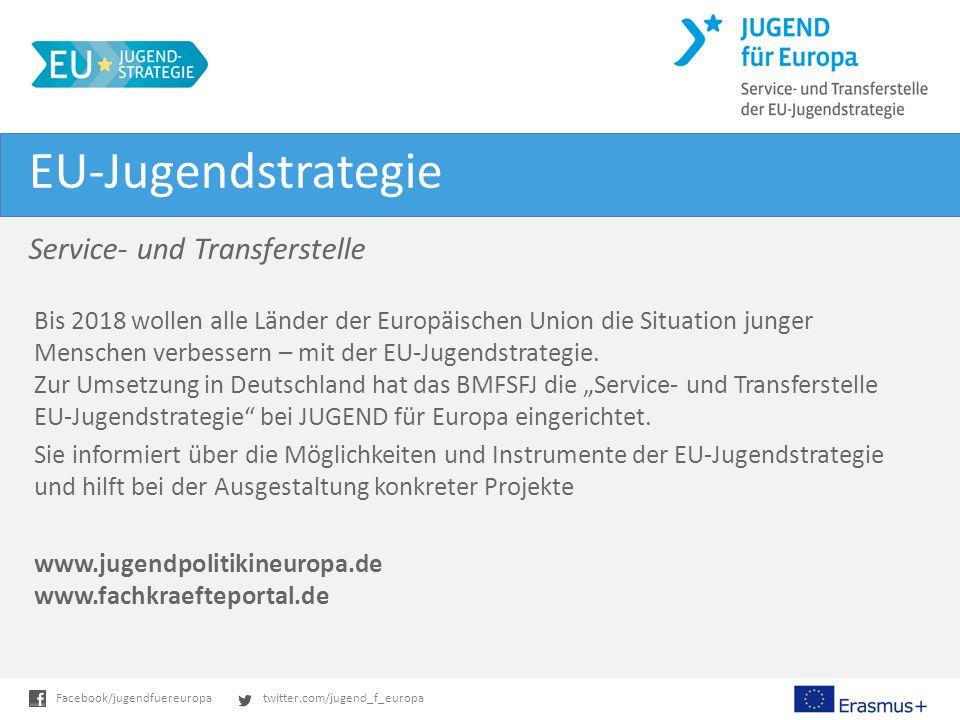 twitter.com/jugend_f_europaFacebook/jugendfuereuropa EU-Jugendstrategie Service- und Transferstelle Bis 2018 wollen alle Länder der Europäischen Union die Situation junger Menschen verbessern – mit der EU-Jugendstrategie.