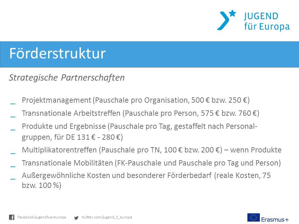 twitter.com/jugend_f_europaFacebook/jugendfuereuropa Förderstruktur Strategische Partnerschaften _Projektmanagement (Pauschale pro Organisation, 500 bzw.