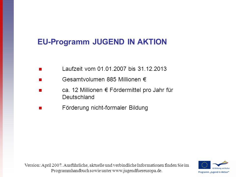 Version: April 2007. Ausführliche, aktuelle und verbindliche Informationen finden Sie im Programmhandbuch sowie unter www.jugendfuereuropa.de. Laufzei