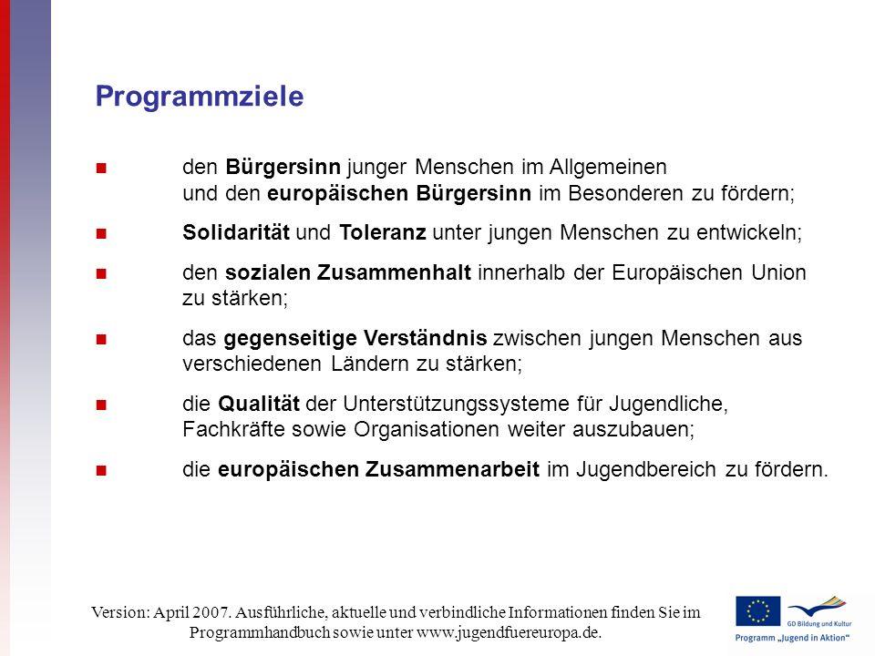 Version: April 2007. Ausführliche, aktuelle und verbindliche Informationen finden Sie im Programmhandbuch sowie unter www.jugendfuereuropa.de. Program