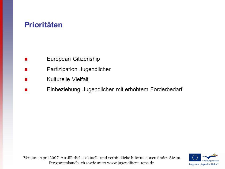 Version: April 2007. Ausführliche, aktuelle und verbindliche Informationen finden Sie im Programmhandbuch sowie unter www.jugendfuereuropa.de. Priorit