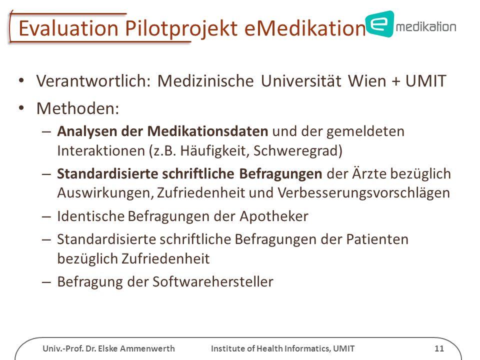 Univ.-Prof. Dr. Elske Ammenwerth Institute of Health Informatics, UMIT 11 Evaluation Pilotprojekt eMedikation Verantwortlich: Medizinische Universität