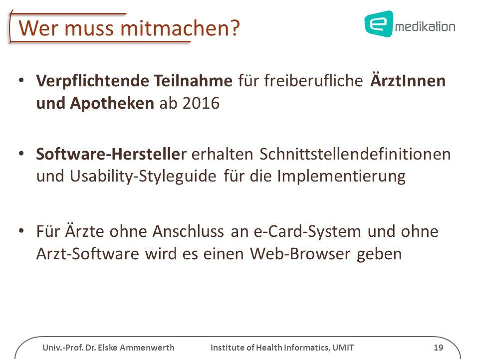 Univ.-Prof. Dr. Elske Ammenwerth Institute of Health Informatics, UMIT 19 Wer muss mitmachen? Verpflichtende Teilnahme für freiberufliche ÄrztInnen un