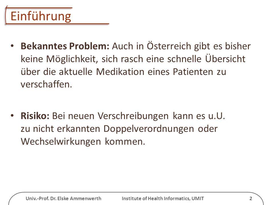 Univ.-Prof. Dr. Elske Ammenwerth Institute of Health Informatics, UMIT 2 Einführung Bekanntes Problem: Auch in Österreich gibt es bisher keine Möglich
