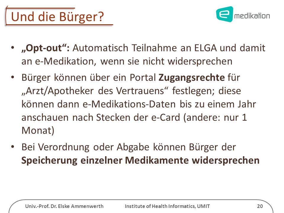 Univ.-Prof. Dr. Elske Ammenwerth Institute of Health Informatics, UMIT 20 Und die Bürger? Opt-out: Automatisch Teilnahme an ELGA und damit an e-Medika