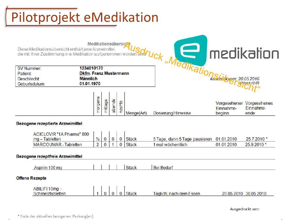 Univ.-Prof. Dr. Elske Ammenwerth Institute of Health Informatics, UMIT 4 Pilotprojekt eMedikation Aufbau einer zentralen Medikationsliste mit allen Ve