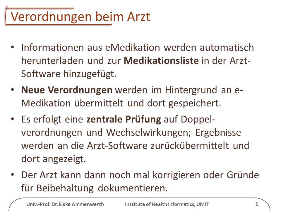 Univ.-Prof. Dr. Elske Ammenwerth Institute of Health Informatics, UMIT 5 Verordnungen beim Arzt Informationen aus eMedikation werden automatisch herun