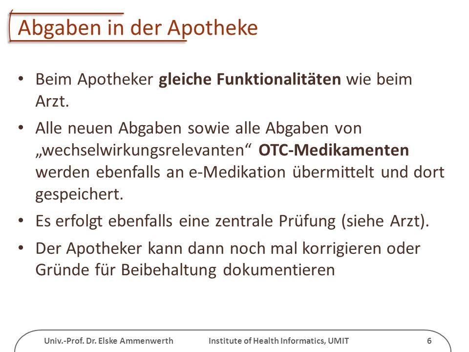Univ.-Prof. Dr. Elske Ammenwerth Institute of Health Informatics, UMIT 6 Abgaben in der Apotheke Beim Apotheker gleiche Funktionalitäten wie beim Arzt