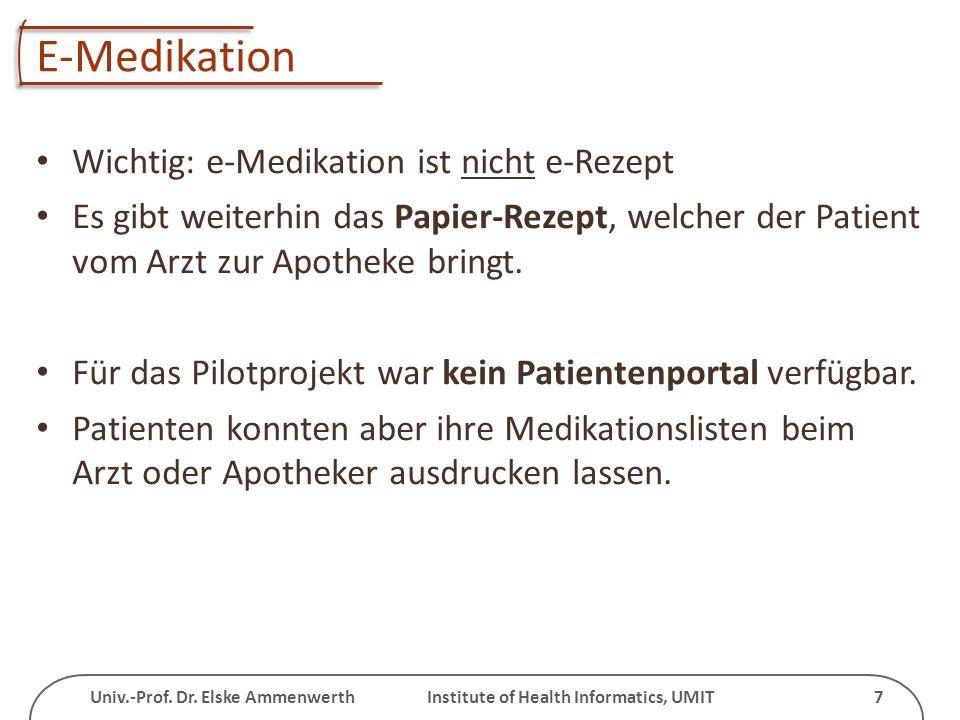 Univ.-Prof. Dr. Elske Ammenwerth Institute of Health Informatics, UMIT 7 E-Medikation Wichtig: e-Medikation ist nicht e-Rezept Es gibt weiterhin das P