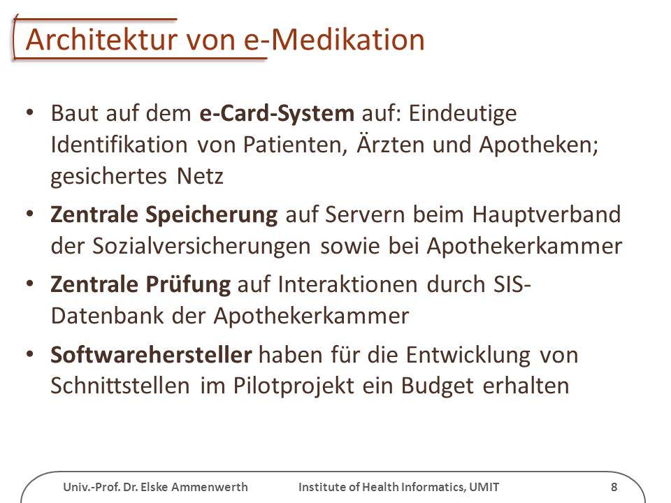 Univ.-Prof. Dr. Elske Ammenwerth Institute of Health Informatics, UMIT 8 Architektur von e-Medikation Baut auf dem e-Card-System auf: Eindeutige Ident