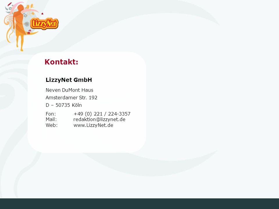 Kontakt: LizzyNet GmbH Neven DuMont Haus Amsterdamer Str.