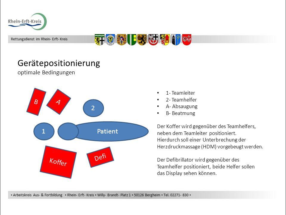 Gerätepositionierung optimale Bedingungen Patient 2 1 Defi Koffer A B 1- Teamleiter 2- Teamhelfer A- Absaugung B- Beatmung Der Koffer wird gegenüber d