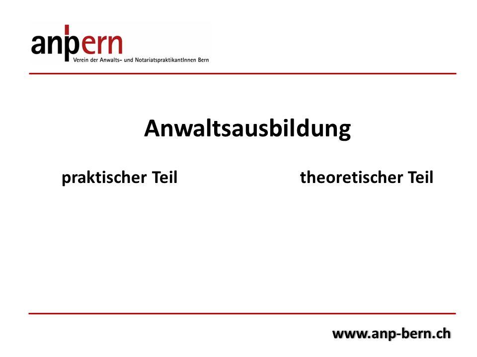 Anwaltsausbildung praktischer Teiltheoretischer Teil www.anp-bern.ch