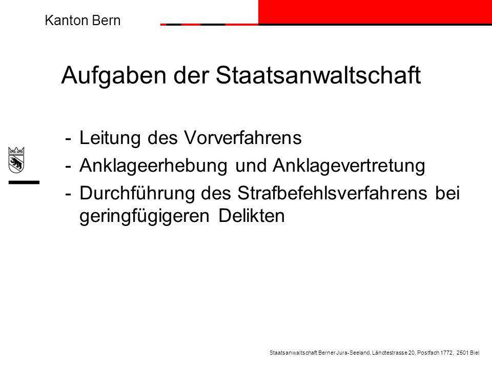 Kanton Bern -Leitung des Vorverfahrens - Anklageerhebung und Anklagevertretung - Durchführung des Strafbefehlsverfahrens bei geringfügigeren Delikten