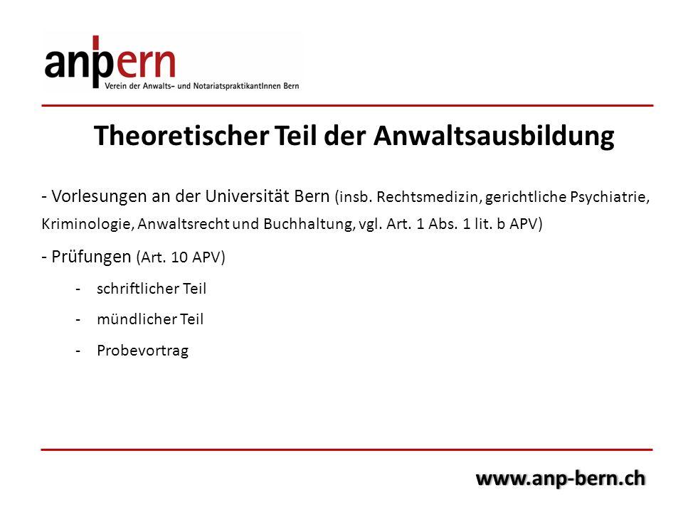 Theoretischer Teil der Anwaltsausbildung - Vorlesungen an der Universität Bern (insb. Rechtsmedizin, gerichtliche Psychiatrie, Kriminologie, Anwaltsre
