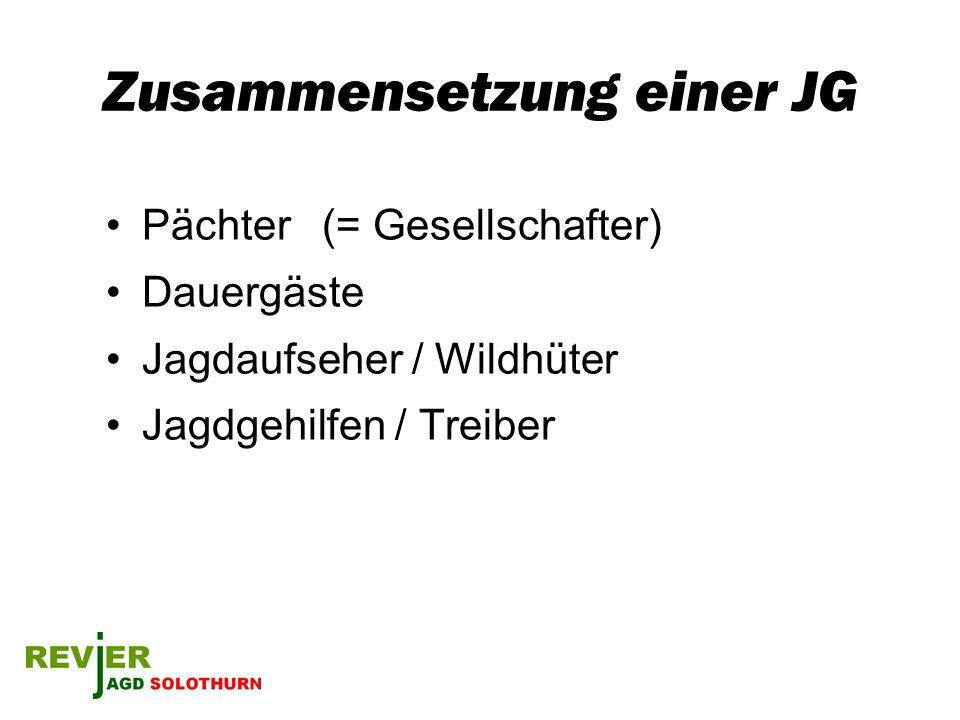 Zusammensetzung einer JG Pächter (= Gesellschafter) Dauergäste Jagdaufseher / Wildhüter Jagdgehilfen / Treiber