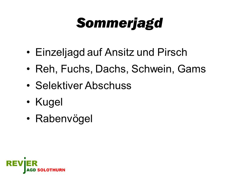 Sommerjagd Einzeljagd auf Ansitz und Pirsch Reh, Fuchs, Dachs, Schwein, Gams Selektiver Abschuss Kugel Rabenvögel