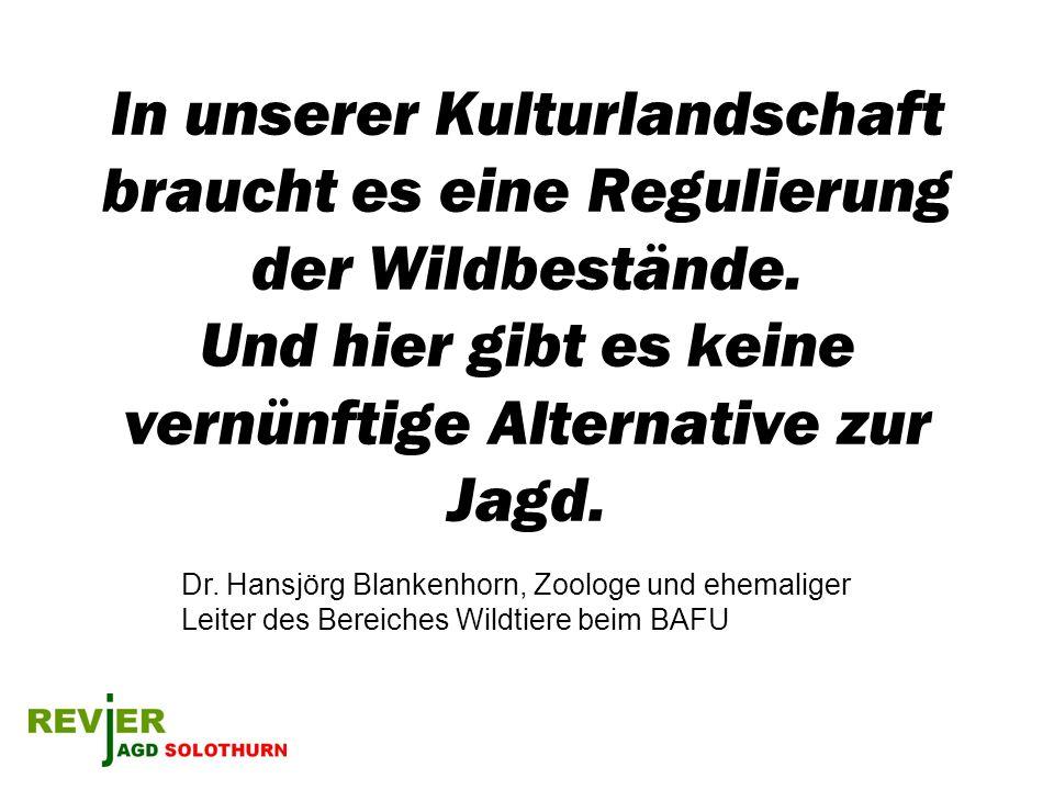 In unserer Kulturlandschaft braucht es eine Regulierung der Wildbestände. Und hier gibt es keine vernünftige Alternative zur Jagd. Dr. Hansjörg Blanke