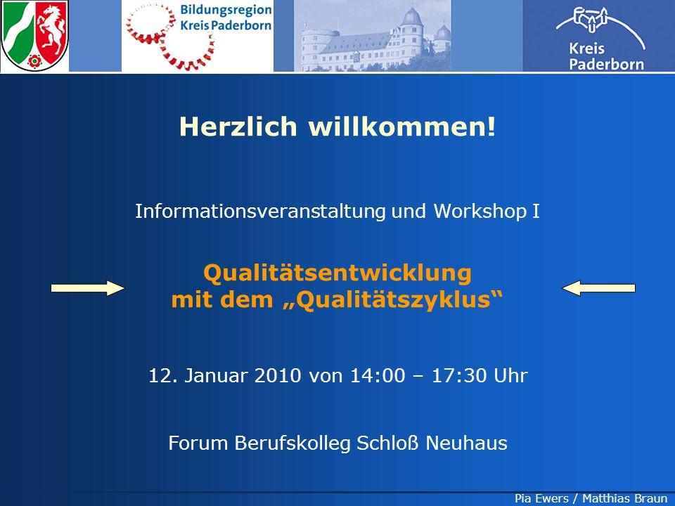 Pia Ewers / Matthias Braun Herzlich willkommen! Informationsveranstaltung und Workshop I Qualitätsentwicklung mit dem Qualitätszyklus 12. Januar 2010