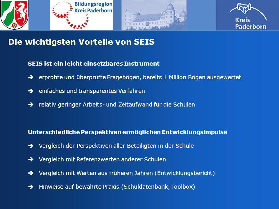 Die wichtigsten Vorteile von SEIS SEIS ist ein leicht einsetzbares Instrument erprobte und überprüfte Fragebögen, bereits 1 Million Bögen ausgewertet