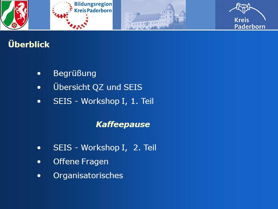 Überblick Begrüßung Übersicht QZ und SEIS SEIS - Workshop I, 1. Teil Kaffeepause SEIS - Workshop I, 2. Teil Offene Fragen Organisatorisches