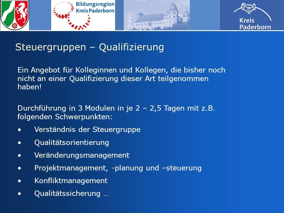 Steuergruppen – Qualifizierung Ein Angebot für Kolleginnen und Kollegen, die bisher noch nicht an einer Qualifizierung dieser Art teilgenommen haben!