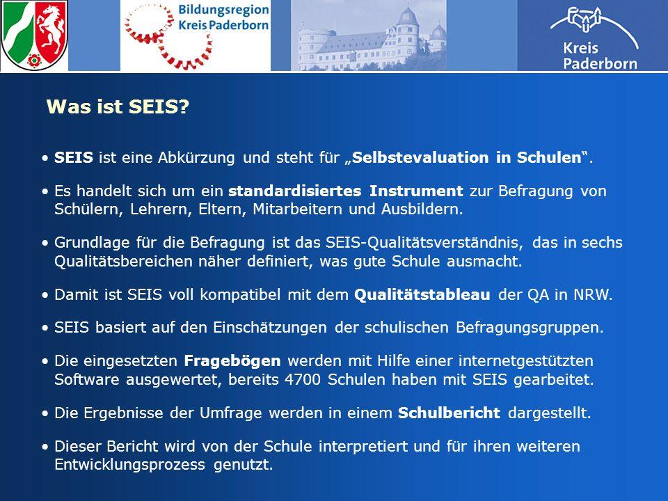 Ziele der Selbstevaluation mit SEIS Das Instrument SEIS dient der standardisierten Selbstevaluation von Schulen und ist so auch ein Steuerungsinstrument für schulinterne Entwicklungsprozesse.