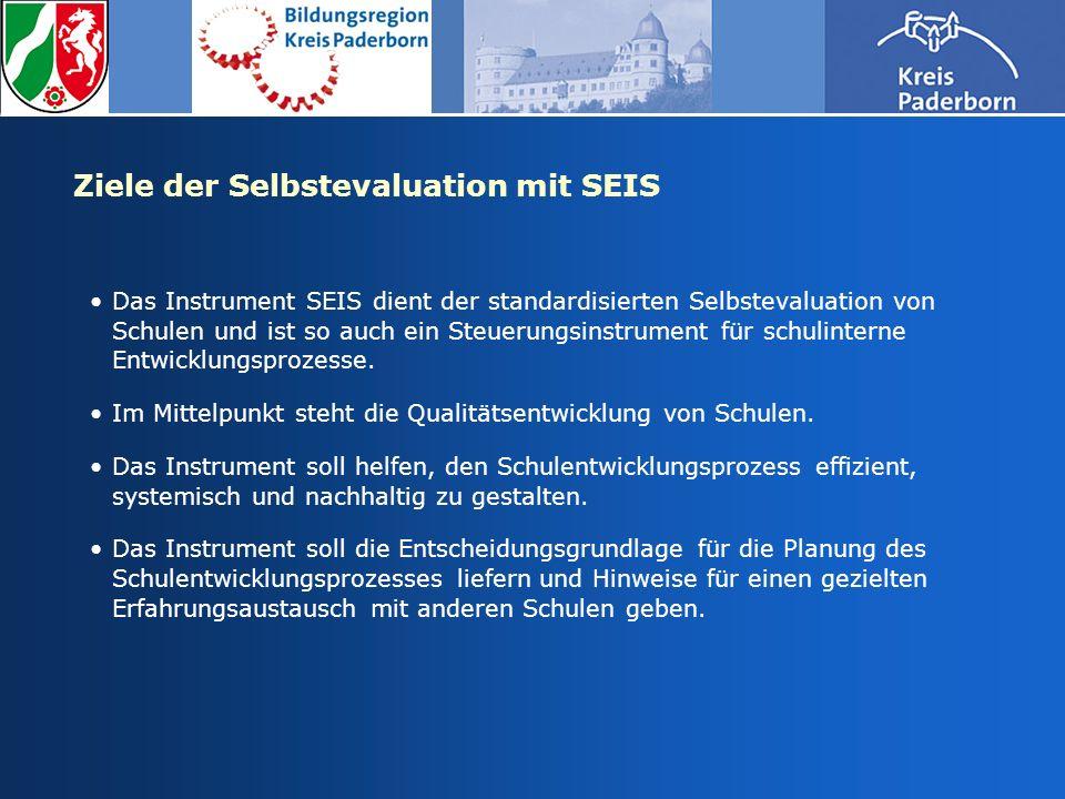 Ziele der Selbstevaluation mit SEIS Das Instrument SEIS dient der standardisierten Selbstevaluation von Schulen und ist so auch ein Steuerungsinstrume