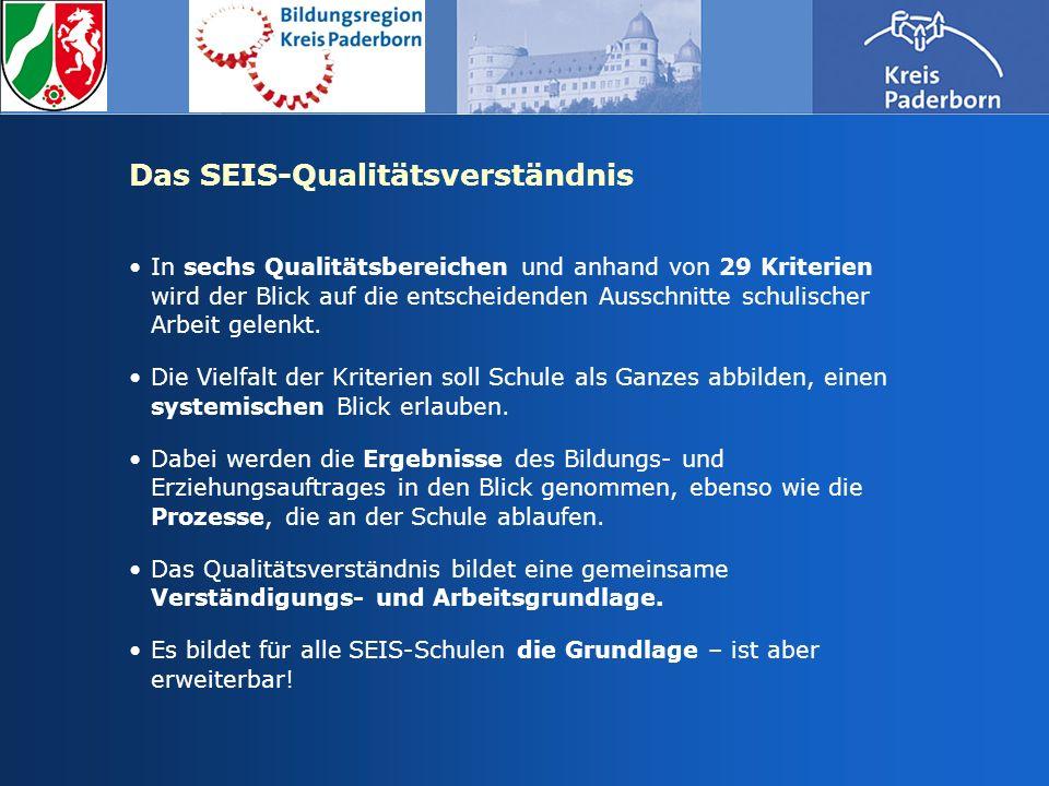 Das SEIS-Qualitätsverständnis In sechs Qualitätsbereichen und anhand von 29 Kriterien wird der Blick auf die entscheidenden Ausschnitte schulischer Ar