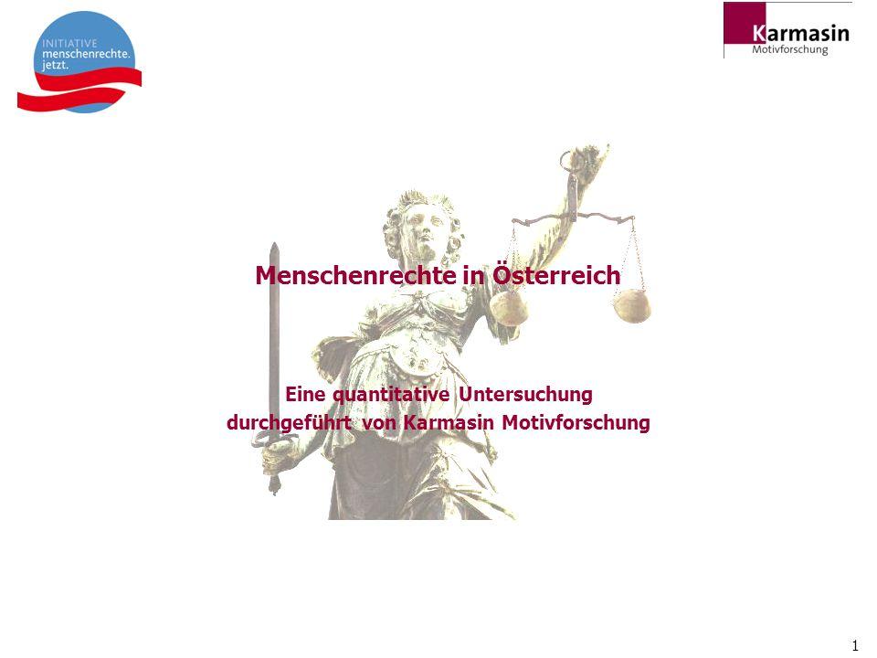 1 Menschenrechte in Österreich Eine quantitative Untersuchung durchgeführt von Karmasin Motivforschung