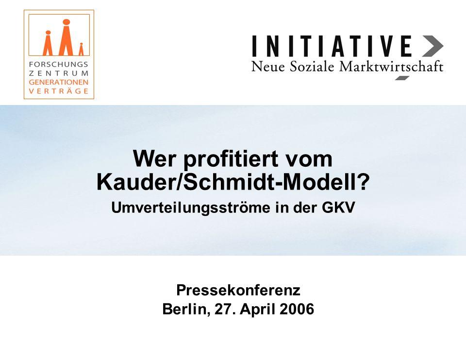 Wer profitiert vom Kauder/Schmidt-Modell? Umverteilungsströme in der GKV Pressekonferenz Berlin, 27. April 2006
