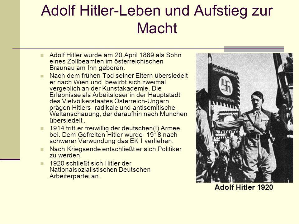 Adolf Hitlers Leben und Aufstieg zur Macht 1921 gelingt es ihm wegen seiner rhetorischen Fähigkeiten und seiner eindrucksvollen Überzeugungskraft die Führung der NSDAP zu übernehmen, die damals noch eine kleine rechtsradikale Splitterpartei war.