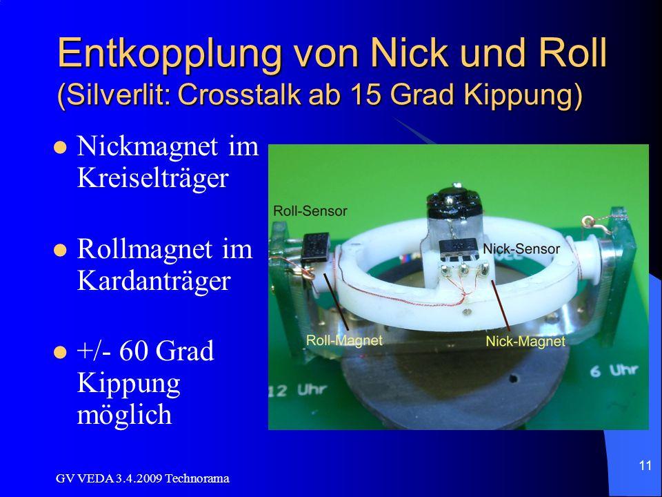 GV VEDA 3.4.2009 Technorama 11 Entkopplung von Nick und Roll (Silverlit: Crosstalk ab 15 Grad Kippung) Nickmagnet im Kreiselträger Rollmagnet im Kardanträger +/- 60 Grad Kippung möglich