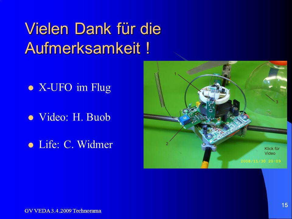 GV VEDA 3.4.2009 Technorama 15 Vielen Dank für die Aufmerksamkeit .