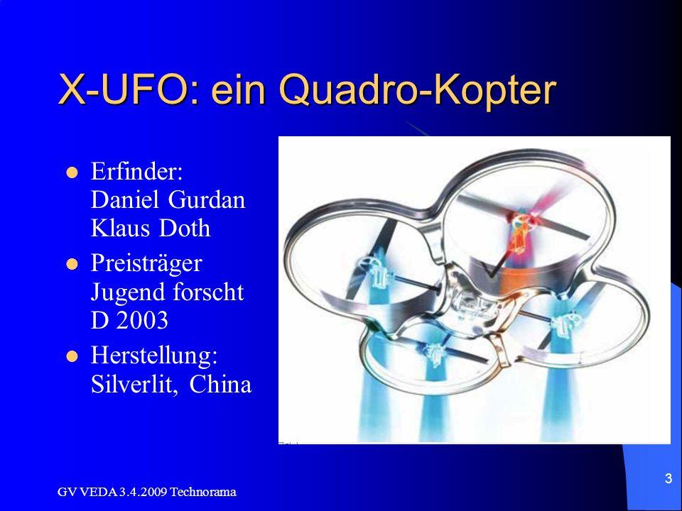 GV VEDA 3.4.2009 Technorama 4 Grundfunktionen des X-UFO Je 2 gegenläufige Propeller (Drehmoment- Ausgleich) Gyro (Kreisel mit Elektronik) zur Flug- Stabilisierung