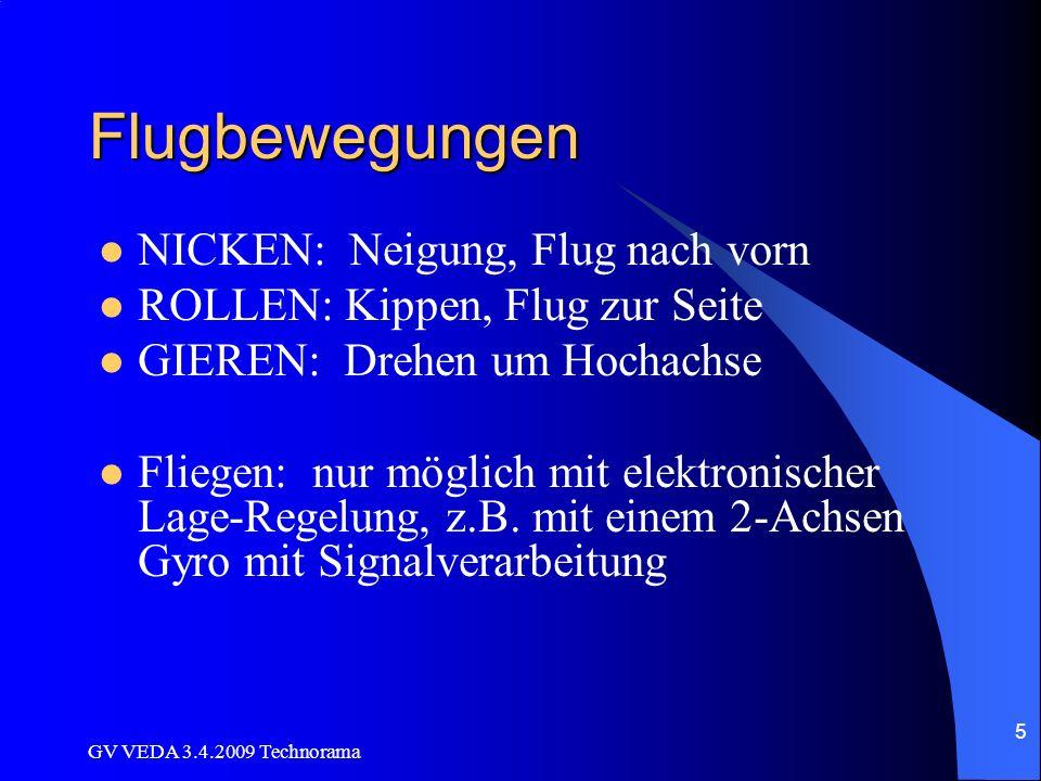 GV VEDA 3.4.2009 Technorama 5 Flugbewegungen NICKEN: Neigung, Flug nach vorn ROLLEN: Kippen, Flug zur Seite GIEREN: Drehen um Hochachse Fliegen: nur möglich mit elektronischer Lage-Regelung, z.B.