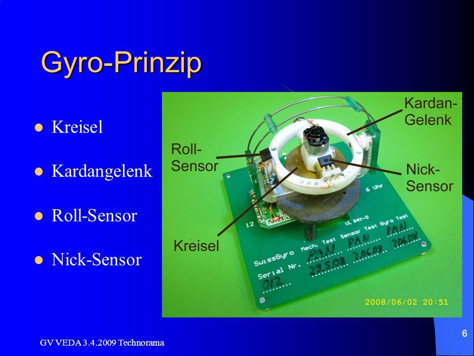GV VEDA 3.4.2009 Technorama 6 Gyro-Prinzip Kreisel Kardangelenk Roll-Sensor Nick-Sensor