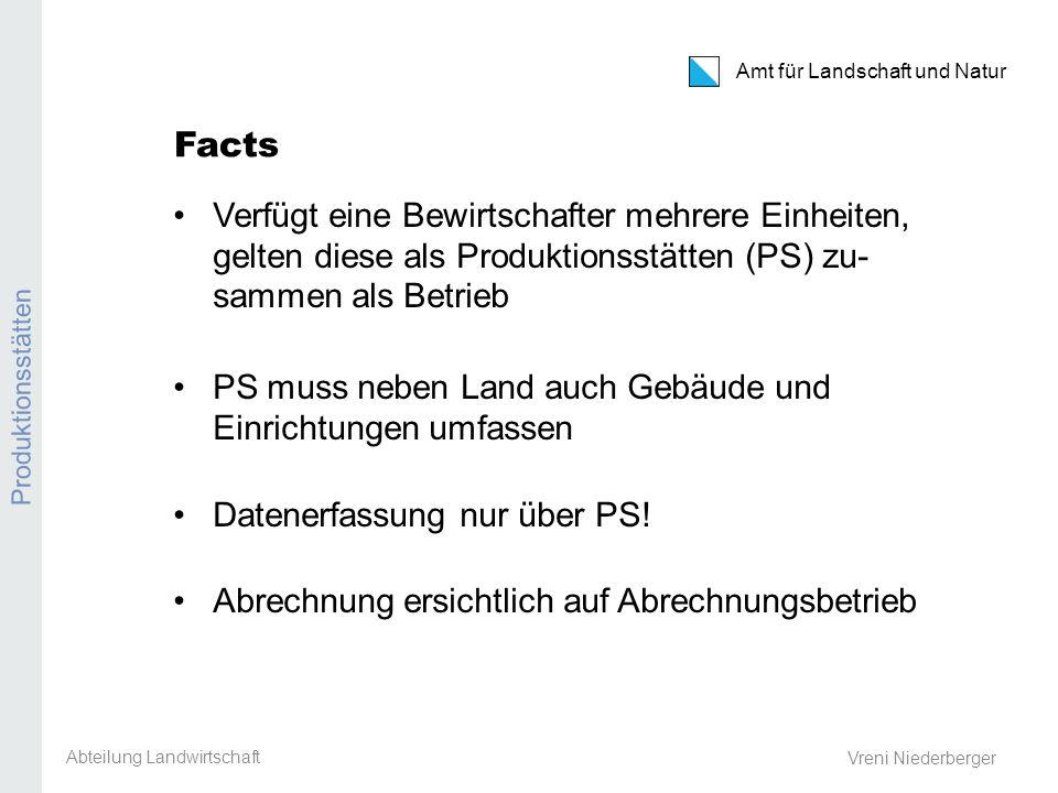 Amt für Landschaft und Natur PS / PG / AG / Eintrittsbedingungen / TVD Vreni Niederberger Facts Verfügt eine Bewirtschafter mehrere Einheiten, gelten diese als Produktionsstätten (PS) zu- sammen als Betrieb PS muss neben Land auch Gebäude und Einrichtungen umfassen Datenerfassung nur über PS.