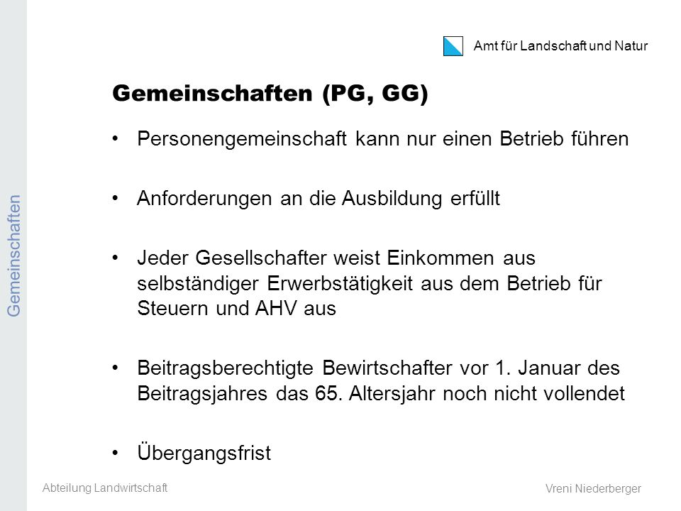 Kanton Zürich Amt für Landschaft und Natur Aktiengesellschaften Ackerbaustellenleiter-Tagung 8.